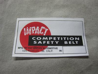 Cobra Impact seatbelt label